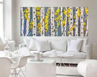 Ready To Ship Free in US Birch Aspen Grey Yellow  Abstract Autumn Fall Trees Wall Art 48 w x 24 h x 1.75  Large Painting