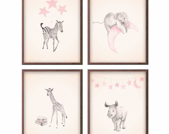 Animal Nursery Art in Pink and Gray, Baby Elephant, Zebra, Giraffe and Rhino. Set of Four Watercolor Art Prints, Custom Colors -  S453
