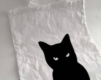 Cat's On The Bag | Reusable Shopping Tote | Canvas Cat Tote | Witches Companion | Cat Lady | Cat Lovers Tote | Black Cat Trick or Treat Bag