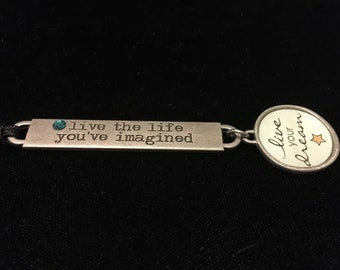 Live the Life You've Imagined Inspirational Necklace with Swarovski Crystal