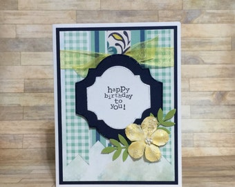 Birthday card, handmade card, greeting card, all occasion card, floral card