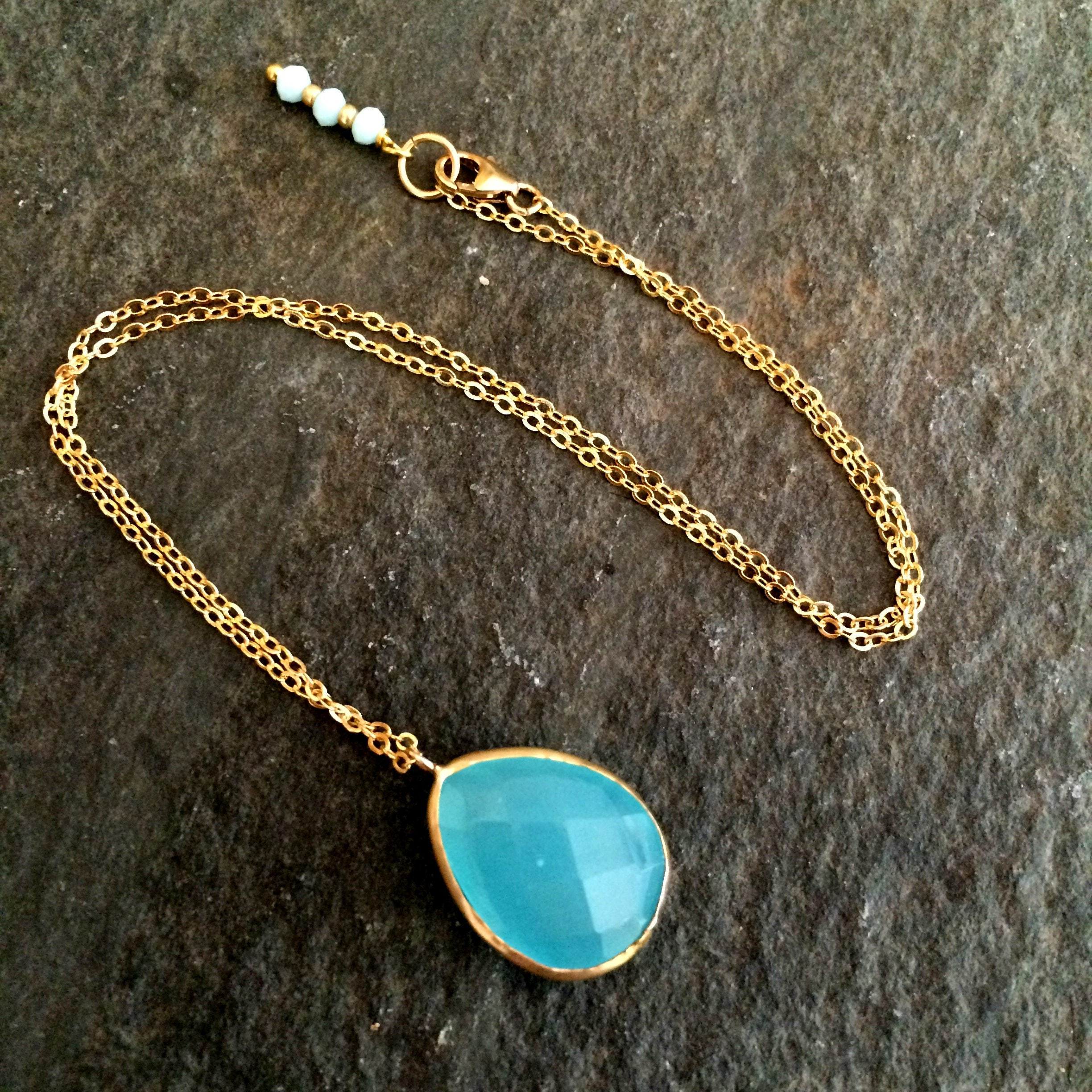 en necklaces water drop joyas chalcedony de venta online addictedto pendant