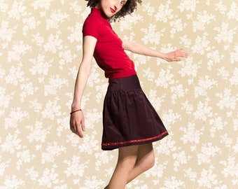 Skirt BIO-Blair: organic cotton, fine-corduroy, aubergine