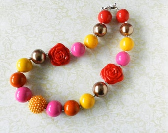 M2M Boutique Style Dresses Bubblegum Bead Necklace, Girls Necklace, Chunky Bead, Bright Colors, Red Pink