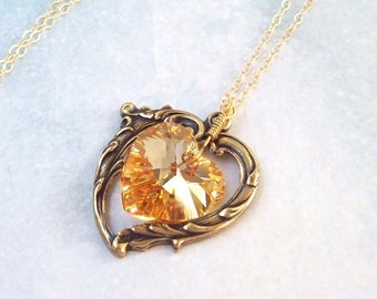 Light Golden Topaz Necklace, Victorian Heart Necklace, yellow, crystal heart, 14k gold filled, Swarovski crystal, wire wrapped, summer