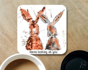 hare coaster, hare drinks mat, hares looking at you, hare