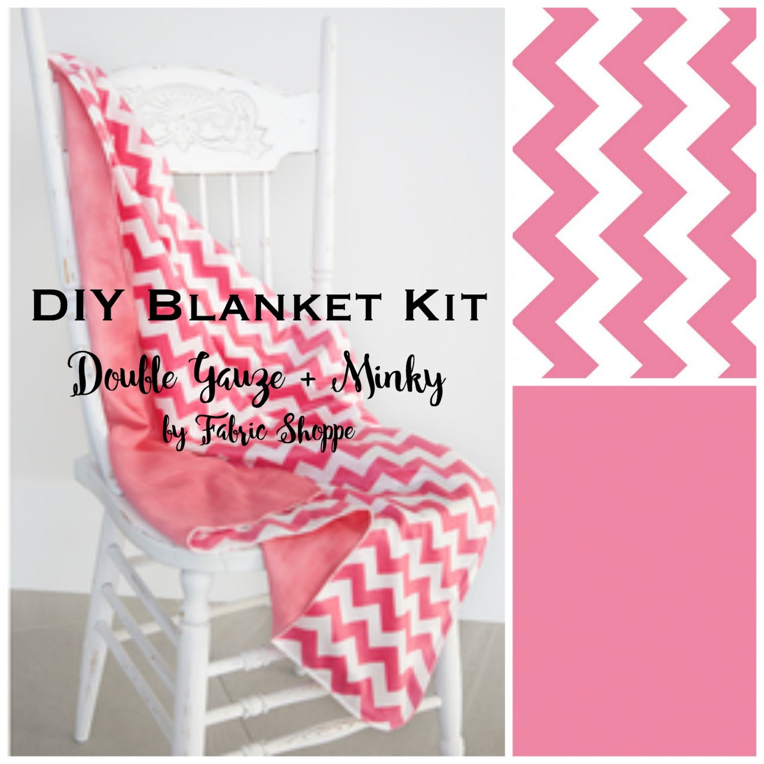 Diy baby blanket kit beginner sewing kit quilt kit double gauze diy baby blanket kit beginner sewing kit quilt kit double gauze fabric pink fabric chevron baby fabric baby gift make it yourself solutioingenieria Images