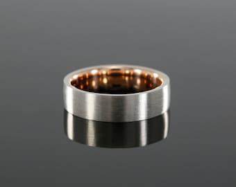 6.5mm Men's Two Tone Wedding Band, Brushed Finish in 14k White Gold and Rose Gold (available in yellow gold and platinum)
