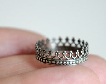 Crown Sterling silver ring - oxidized