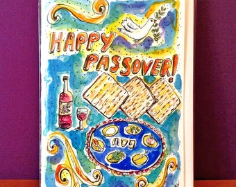 Happy Passover Card, Hand Painted, Original Watercolor Painting, Passover Art Card, Peace Dove, Dove Painting, Seder Plate, Matzo, Pesach