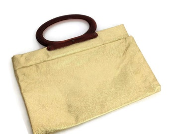 Vintage Gold Lame Clutch Purse Handbag