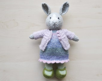 Hand Knit Bunny Girl with Outfit Soft Toy Knitted Little Bunny in Cotton Dress Rabbit Cute Stuff Animal Gift Collectible Toy