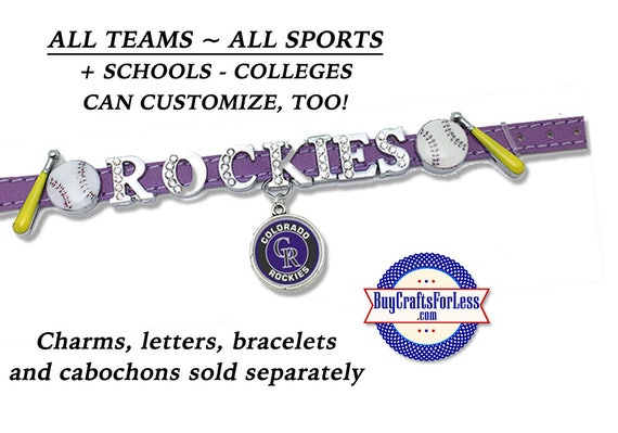 MLB Baseball ~ ALL TEaMS BASBaLL or NaME Bracelet, 8mm Letters, Charms +FREE Shipping & Discounts*