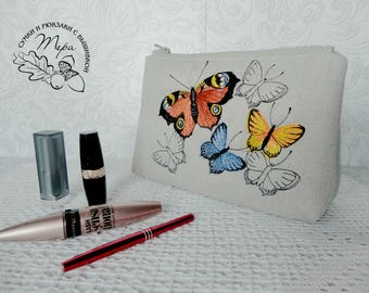 Toiletries bag women Cosmetic bag personalized Makeup bag cosmetic bag personalized makeup bag bridesmaid gift toiletry bag Butterfly