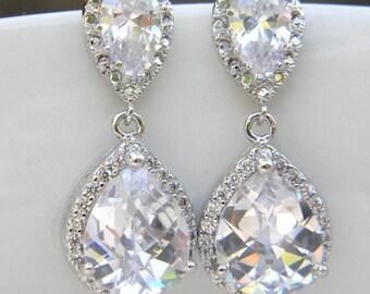 Wedding Jewelry, Bridal Earrings, Bridesmaid Earrings, Bridesmaid Jewelry, Drop, Dangle, Clear Earrings, Estate Style Bridal Earring