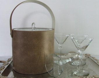 Vintage Faux Leather Ice Bucket  clear Plastic  Lid - Georges Briard  Rustic - Man Cave - Office  Bar - Mad Men