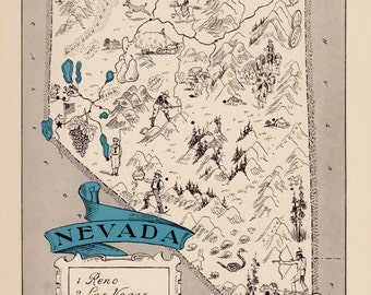 30's Vintage NEVADA Picture Map Pictorial State Cartoon Map Print Travel Map Gallery Wall Art Gift for Boyfriend Birthday Gift