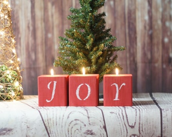 Red Joy Chalkboard Candles, Rustic Christmas Decor, Primitive Christmas Decorations
