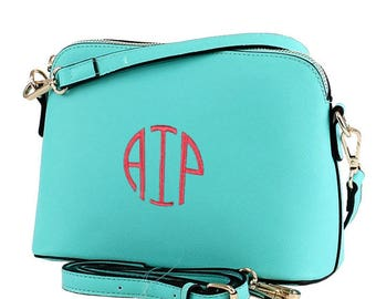 Monogram Crossbody, Bag  Leather Purse, Leather Bag, Shoulder Bag, Embroidered Clutch Purse, Preppy Cross body Bag, Vegan Leather