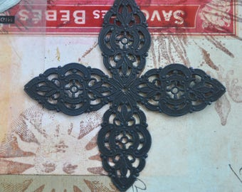 Large Brass Filigree Cross, Stone Wrap, Brass Stampings, Made in the USA, Black Satin Finish