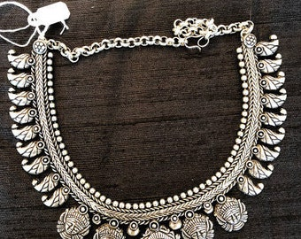 German Silver Choker Necklace, Oxidized Choker Necklace, Temple Jewelry, Mother's day Gift, Indian ethnic jewelry
