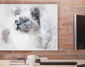 Cat Lover's Watercolor Print on Canvas - Limited Edition