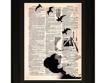 "Slides"".Dictionary Art Print. Vintage Upcycled Antique Book Page. Fits 8""x10"" frame"