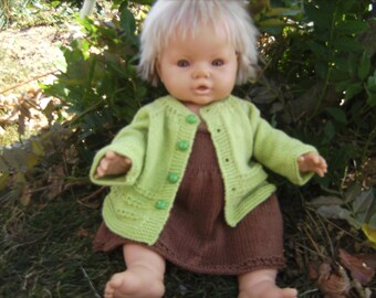 ALL baby dress and vest, Brown and pistachio unique