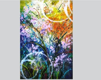 Abstrakt Acryl Dekor Blau Rosa Abstrakte Kunst Acryl Wand Kunst Leinwand  Gemälde Geschenk Für Ihre Abstrakten Leinwand Kunst Wohnzimmer Wand Dekor  Messer
