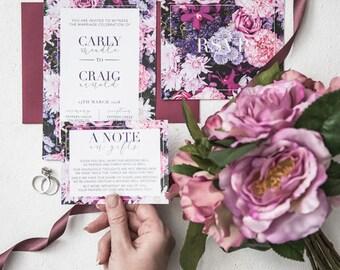Flower Wall - Wedding invitation, wedding invitation set, flowers, flower wall, pink, purple colours