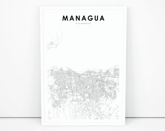Nicaragua map etsy managua map print nicaragua map art poster city street road map print nursery room wall office decor printable map publicscrutiny Image collections