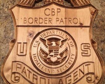 U.S. Border Patrol Agent custom made wood badge/plaque
