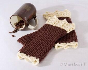 Brown Lace Fingerless Gloves, Crochet Wrist Warmers, Womens Fingerless Mittens, Wool Knit Mitts, Fingerless Hand Warmers For Women