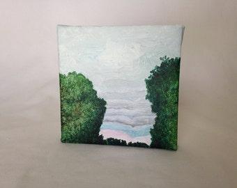 Small Painting - Original Art Canvas - Layered Clouds - Sky - Boone NC