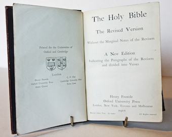 Holy Bible Antique 1911 Antique Christian religious book old book Vintage Bibles unique gifts