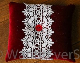 Red Velvet & Guipure White Lace Vintage Wedding Ring Bearer Pillow