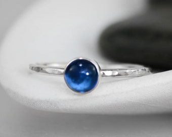 Simple Sapphire Ring - Sterling Silver Blue Sapphire Promise Ring - Blue Gemstone Ring - Bezel-Set Stacking Ring - Gemstone Stackable Ring