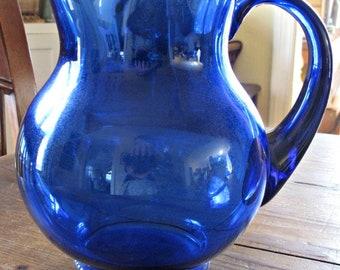 Depression glass cobalt blue pitcher