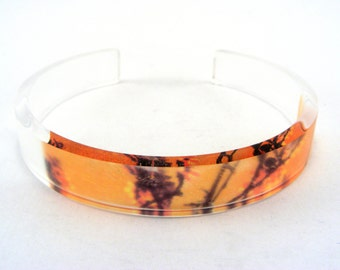 Teen Gift Bangle Orange Floral, Slim Small size Acrylic Perspex Bangle