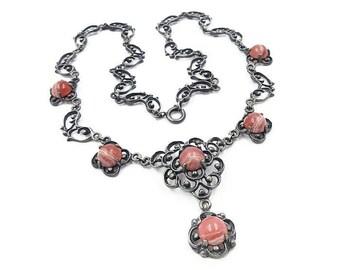 Art Deco Nouveau Jugendstil German Silver Rhodochrosite Necklace - 835 Silver, Pink Agate, Germany Jewelry, Art Deco Jewelry