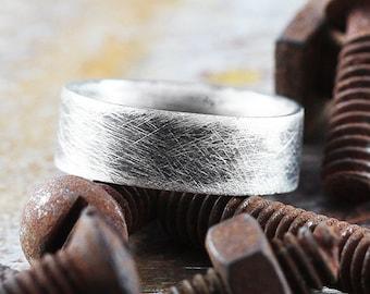 Brushed Silver Ring Mens Wedding Band Satin Silver Ring Sterling Silver Ring Oxidized Ring Mens Wedding Bands Satin Finish Wedding Band