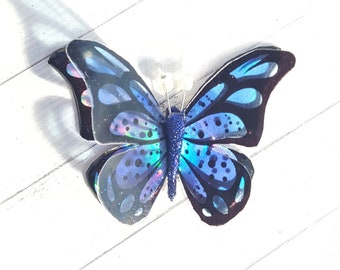 Sparkling 3D iridescent blue resin butterfly handcrafted embellishment art craft jewellery wedding favour gift