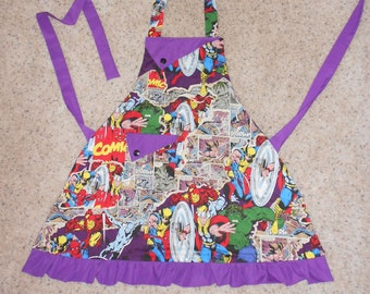 Marvel - Women's Apron - Ruffle - Pocket - Comics - Movie - Avengers - Thor - Spiderman - Captain America - Iron Man - Hulk