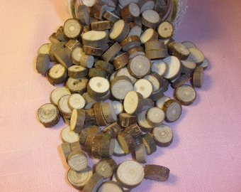 Rustic Wedding Vase Filler, Table Scatter, Confetti, Tree Branch Slices, 2 Cups of Wood Rounds
