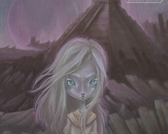 Winds- Alien girl pyramid lowbrow art print