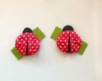 Girl hair clip, Toddler hair clip, Baby hair snap clips. Lady bug Hair clips.