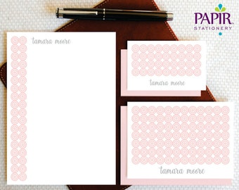 Personalized Stationery/Personalized Stationary/Complete Stationary Set/CONCENTRIC CIRCLES Custom Note Cards + envelopes and Notepad, GCS005