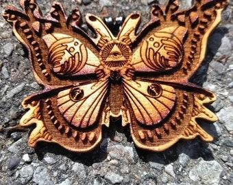 SO butterfly wood pendant/ necklace