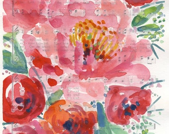 """Watercolor Hymn Print """"It is Well with my Soul"""",  watercolor florals, abstract floral painting, peony watercolor painting"""
