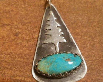 Turquoise Pendant Tree Necklace, Fir Tree, Artisan Silversmith Necklace, Great Gift for Wife, Daughter, Grandmother